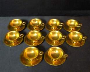 Set of 10 Tiffany & Company gold gilt cups and saucers