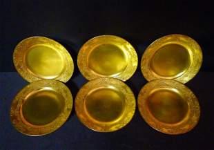"""Berlin gold gilt plates 6 3/4"""" diameter"""