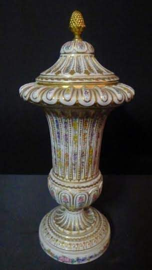 """Sevres Urn with Floral and raised gold decorations 15""""h"""