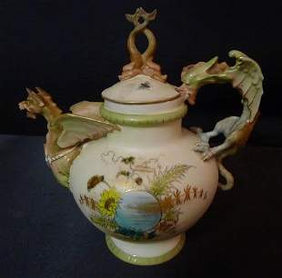 19th Century Fine porcelain tea pot with winged griffin