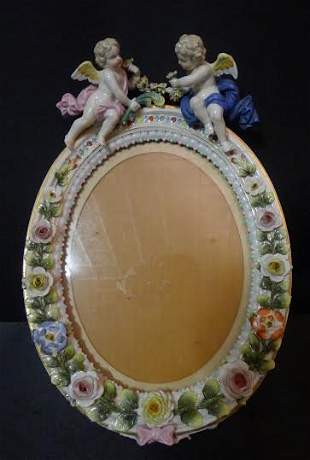 19th Century German porcelain picture frame with