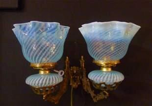 "Double Blue Opalescent oil sconce in brass bracket 14""h"