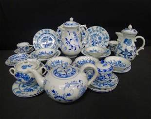 33 Pc. Blue and White China with various markings