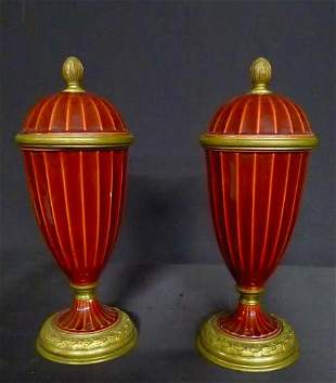 Pair of MP Sevres and bronze urns