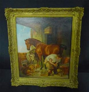 th Century Oil on Canvas in giltwood frame signed E.