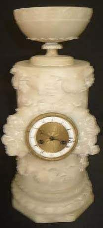"""Early 19th Century carved Alabaster Clock 13 1/2""""h x 7"""