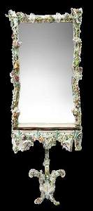 Rare Monumental Meissen Console and mirror, floral and