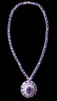 Impressive Tanzanite and Diamond Necklace, Tanzanite TW