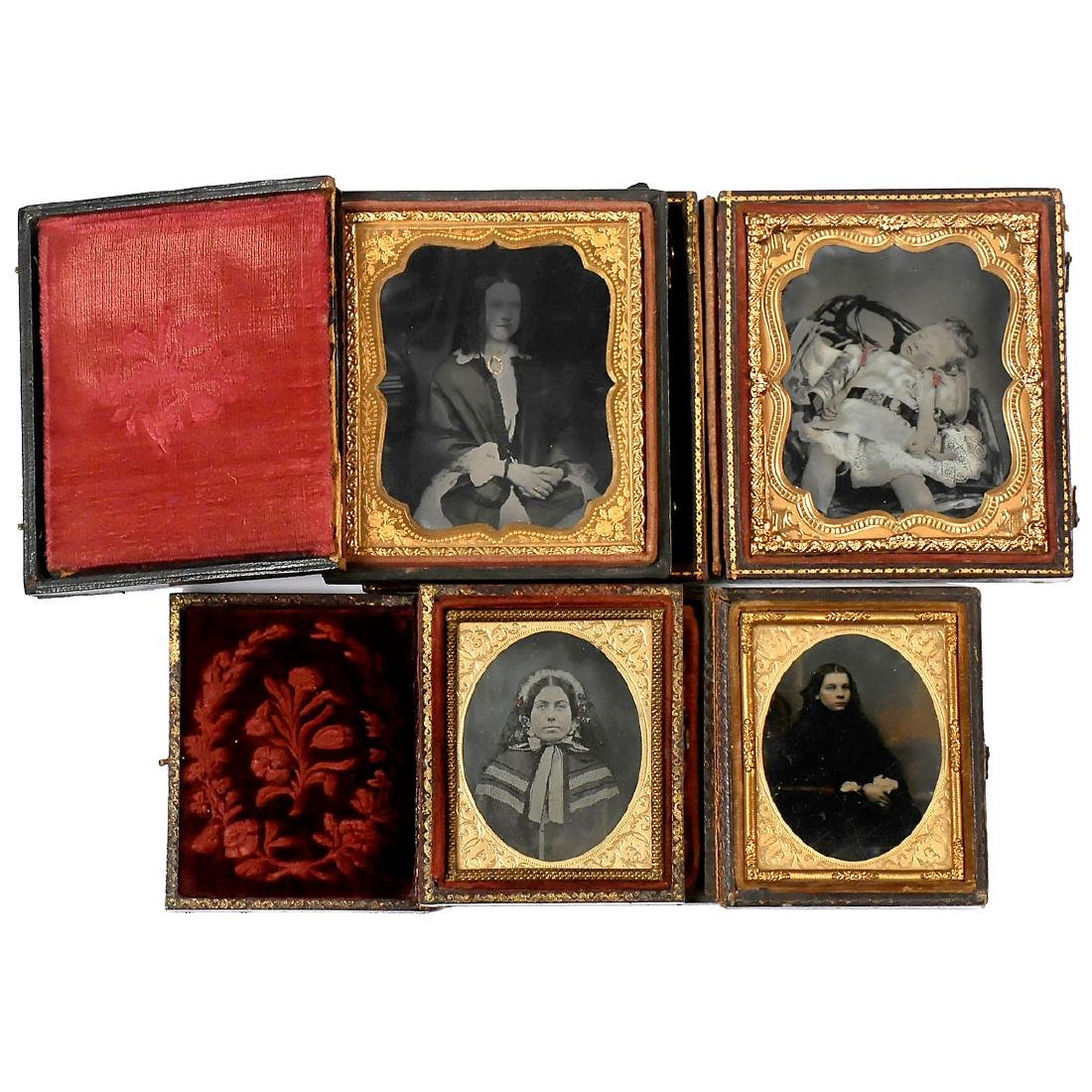 4 Hand-Tinted Ambrotypes, c. 1850