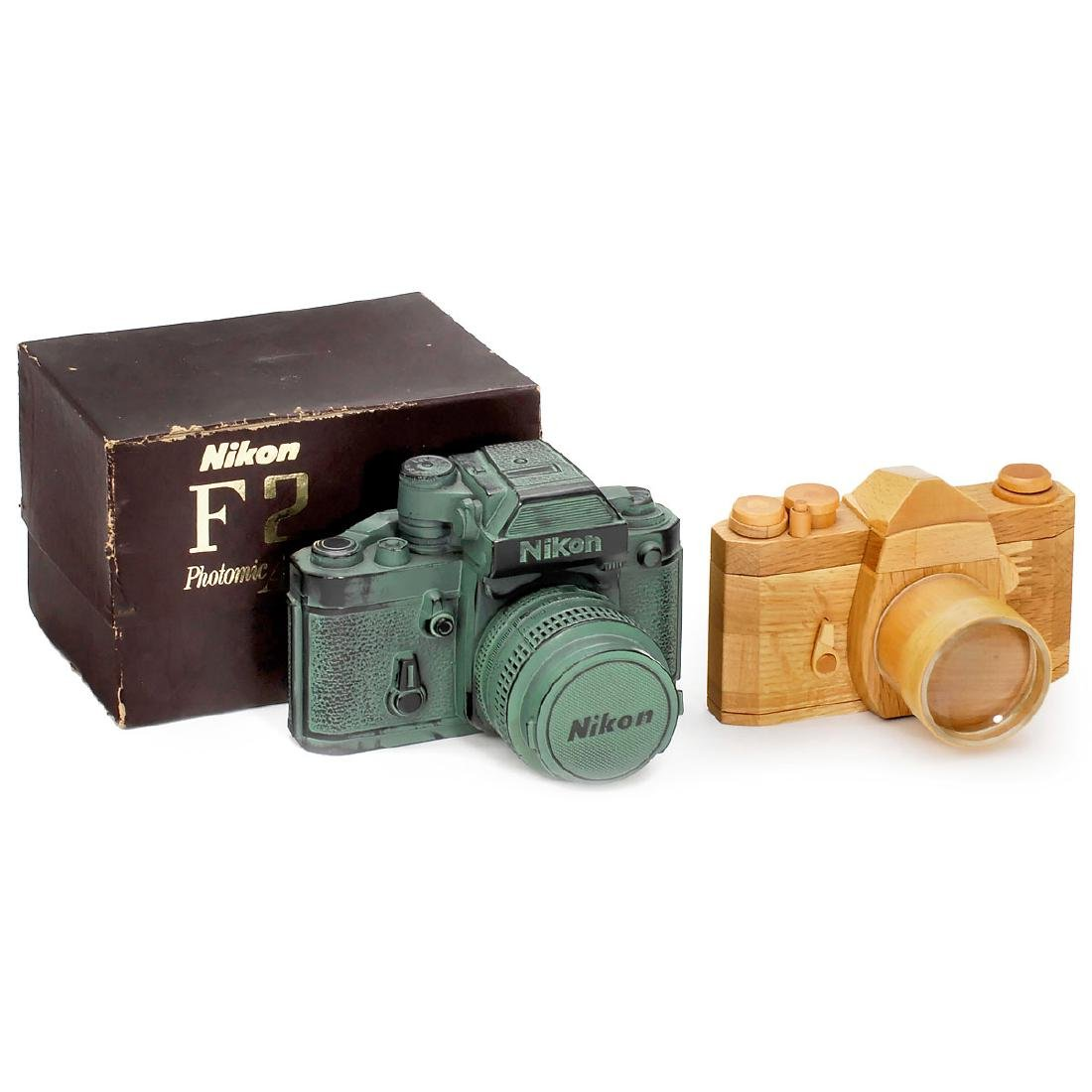 """Nikon F2"" Money Bank and Wooden Camera"