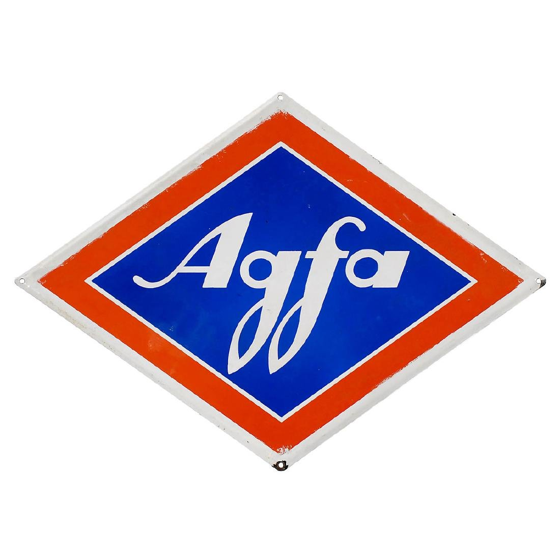 "Diamond-Shaped ""Agfa"" Enamel Advertising Sign, c. 1950"
