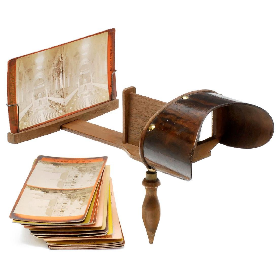 Holmes-Pattern Stereo Viewer with Cards, c. 1890