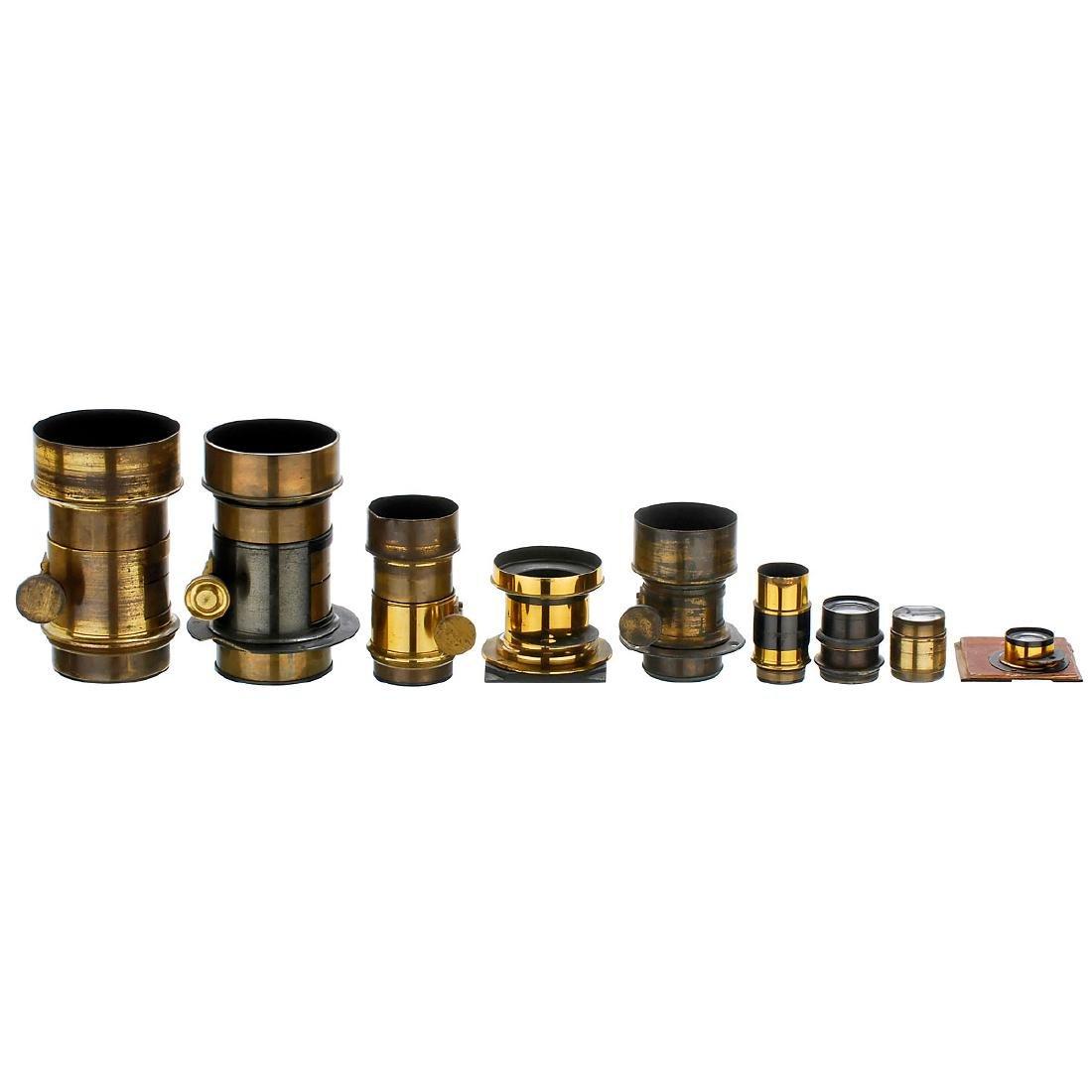 9 Unmarked Brass Lenses, 1865–1890