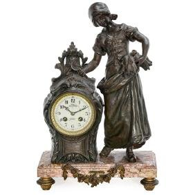French Figural Mantel Clock, c. 1880