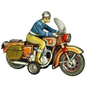 Tippco No. 598 Big Motorcycle with Saddle Bags, c. 1958