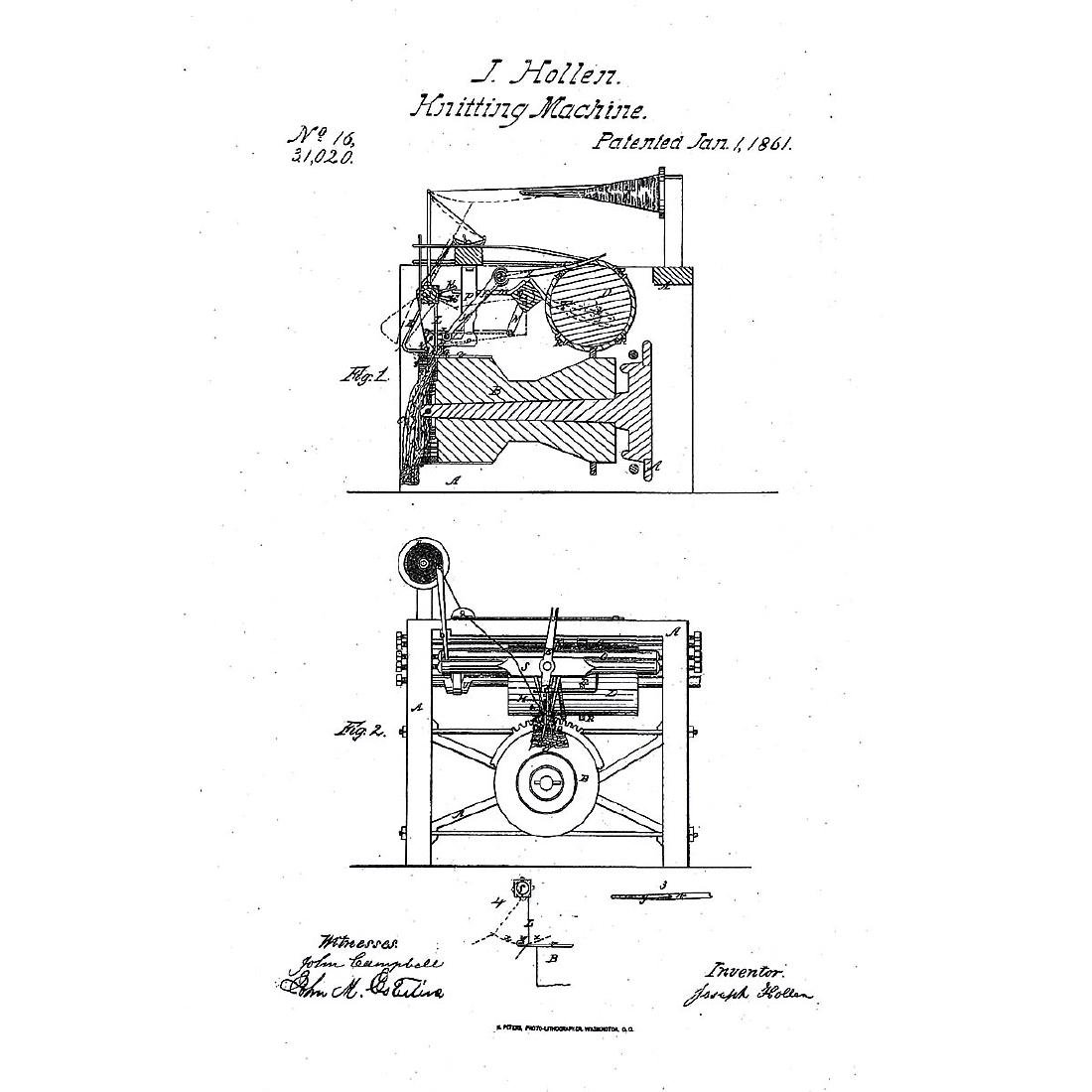 American Patent Model of a Knitting Machine by Joseph - 5