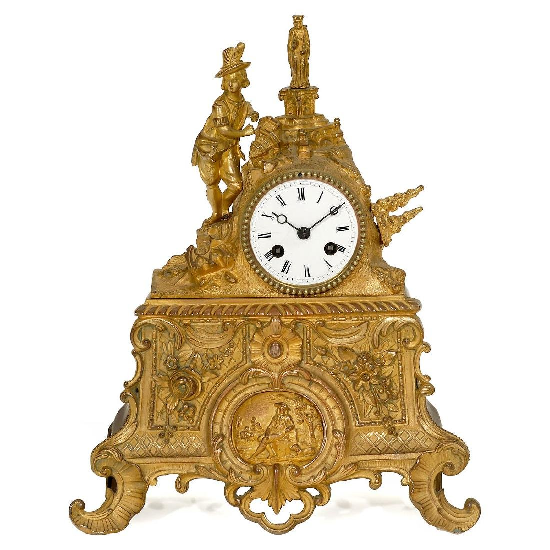 Fire-gilded French Mantel Clock, c. 1860