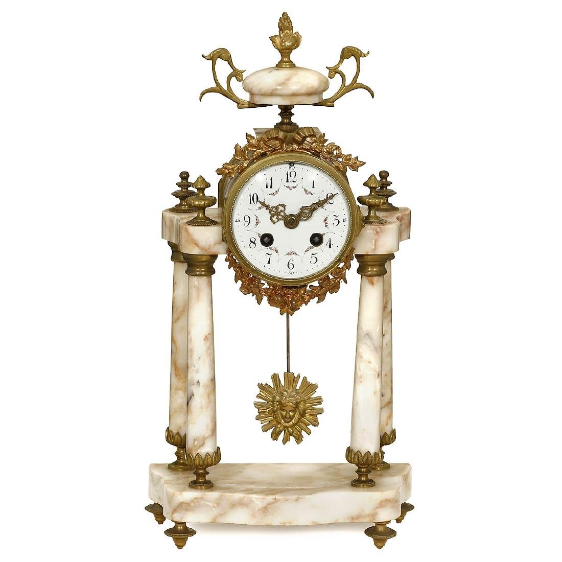 French Portico Marble Clock, c. 1880