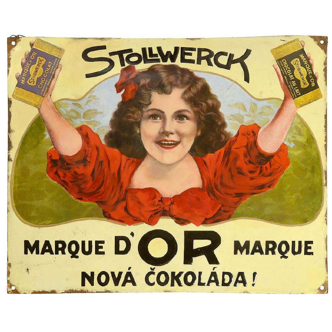 Stollwerk Enamel Advertising Sign, c. 1914