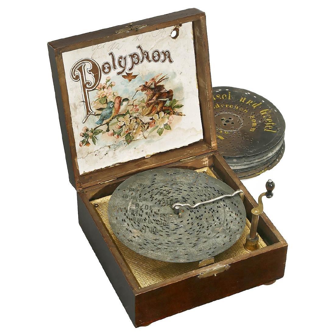 Polyphon Manivelle Disc Musical Box, c. 1900 - 2