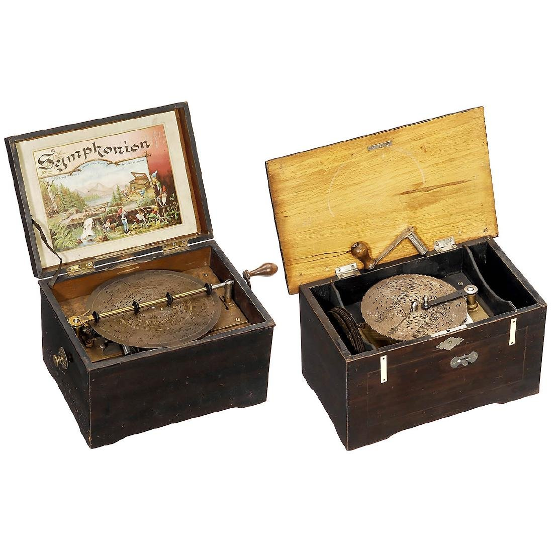 2 Disc Musical Boxes for Restoration/Parts, c. 1900