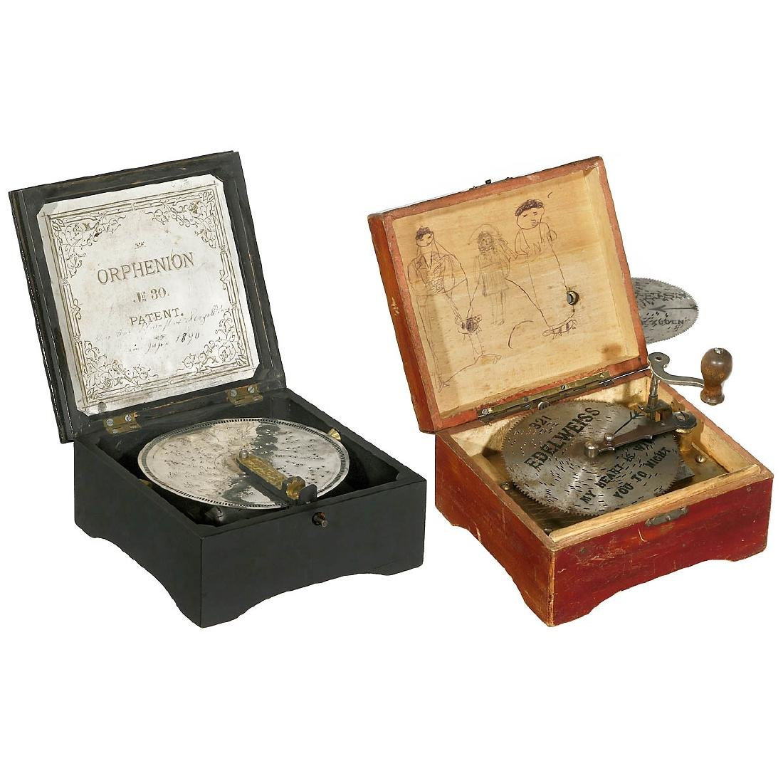 2 Small Manivelle Disc Musical Boxes, c. 1900