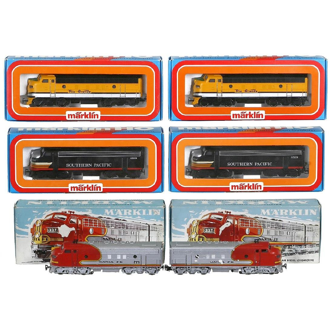 3 Märklin American Double Locomotives, c. 1977