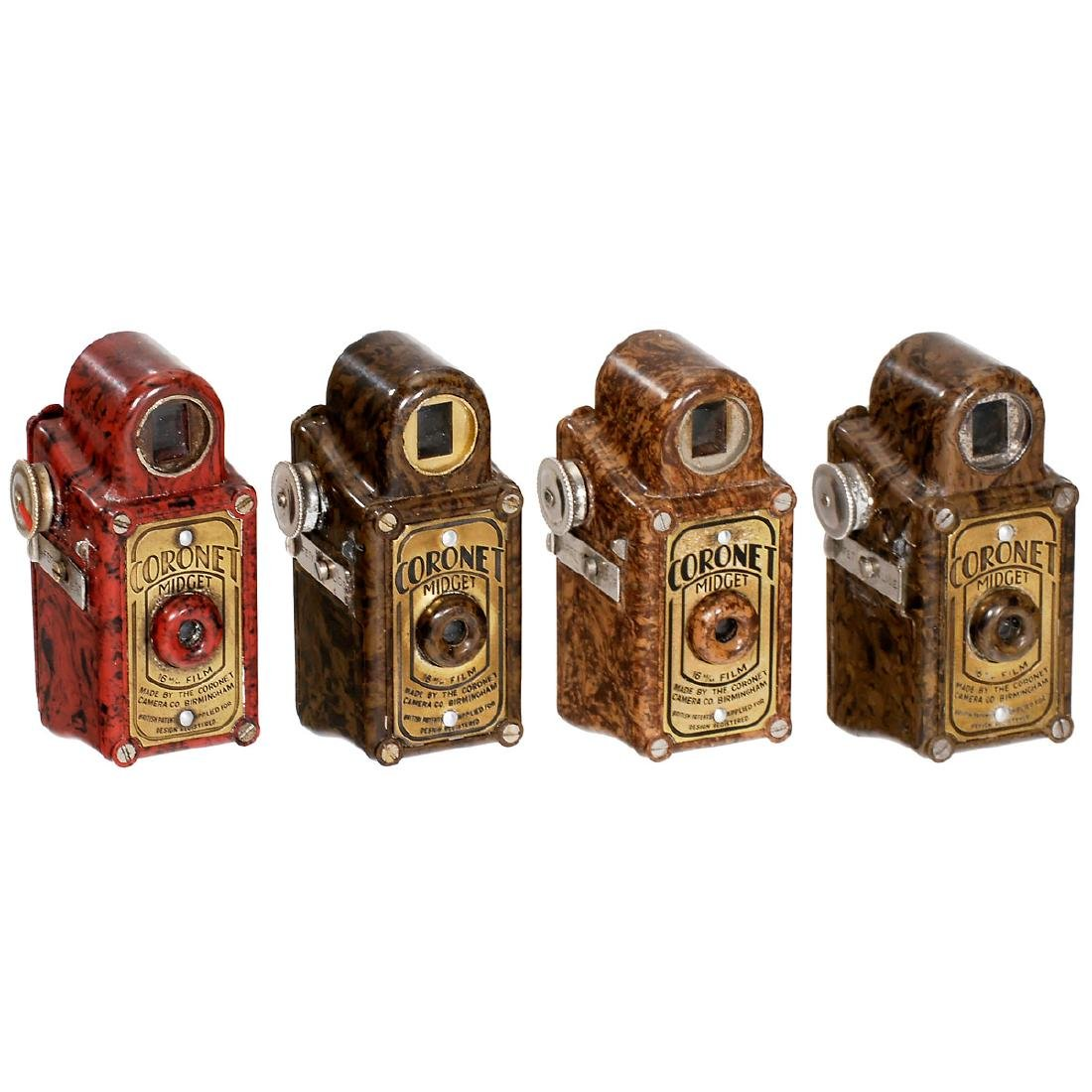 4 Colored Coronet Midget Cameras, c. 1935