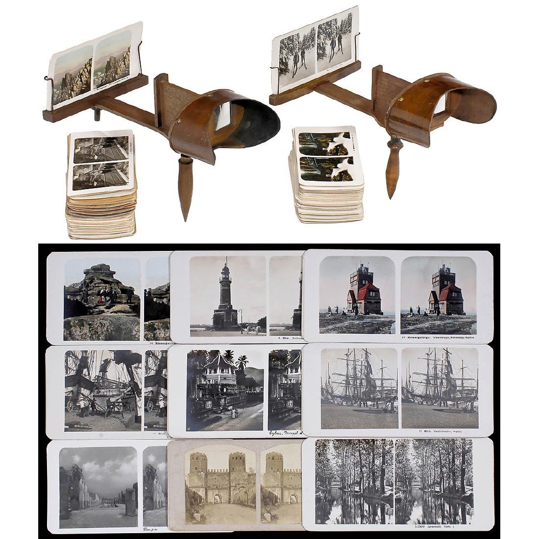 2 Holmes-Pattern Stereo Viewers and Cards, 1900-1910