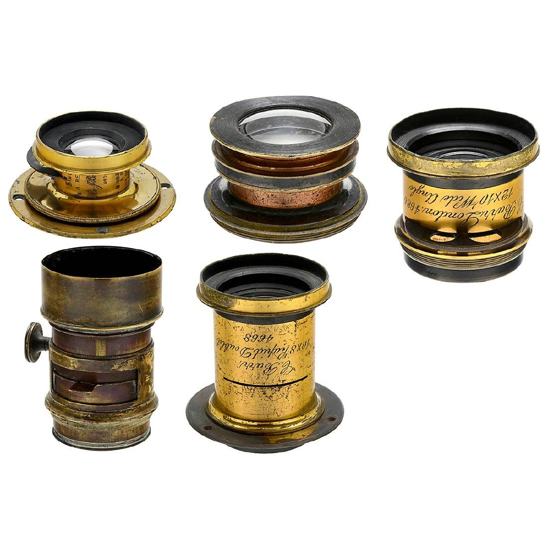 5 Brass Lenses from England