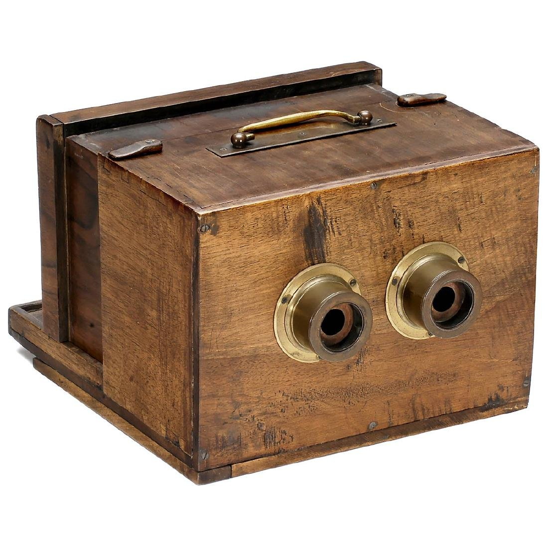 French Stereo Wet-Plate Sliding Box Camera with early