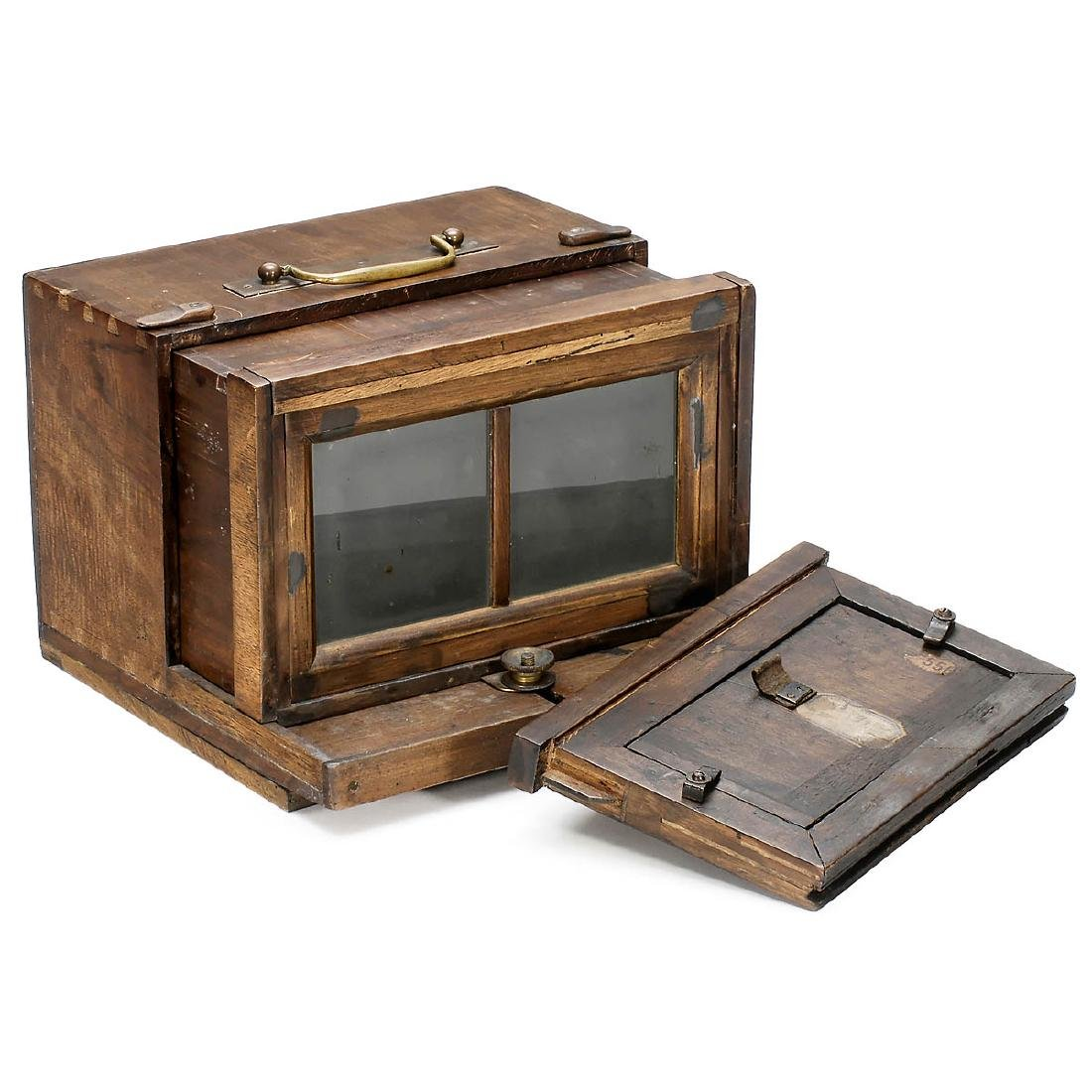 French Stereo Wet-Plate Sliding Box Camera with early - 2