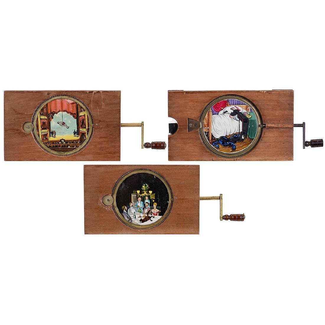 3 Magic Lantern Single Lever Slides, 1880-1900