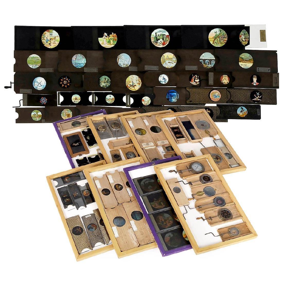 59 Mechanical Magic Lantern Slides in Wood Cases