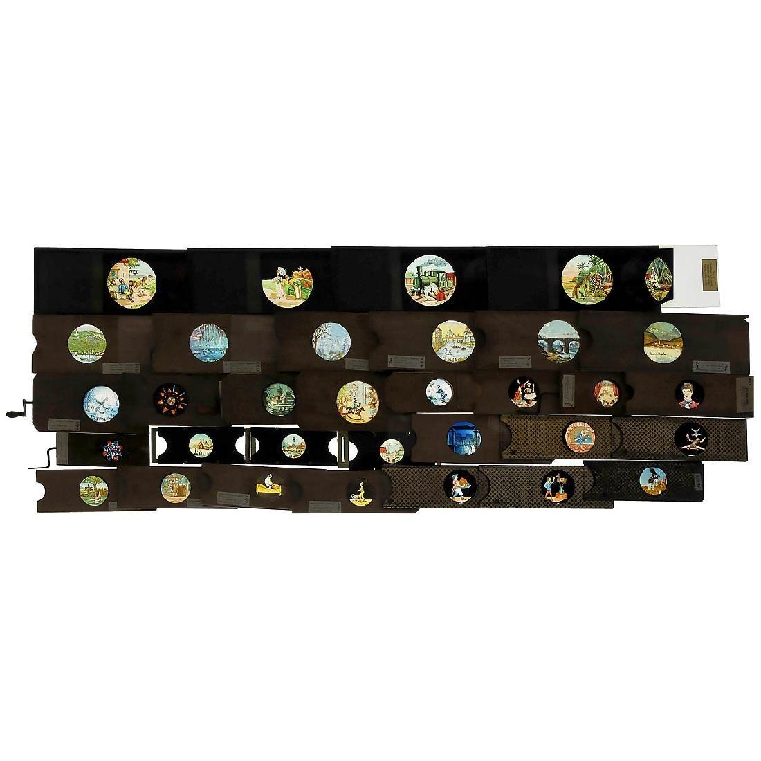 59 Mechanical Magic Lantern Slides in Wood Cases - 2