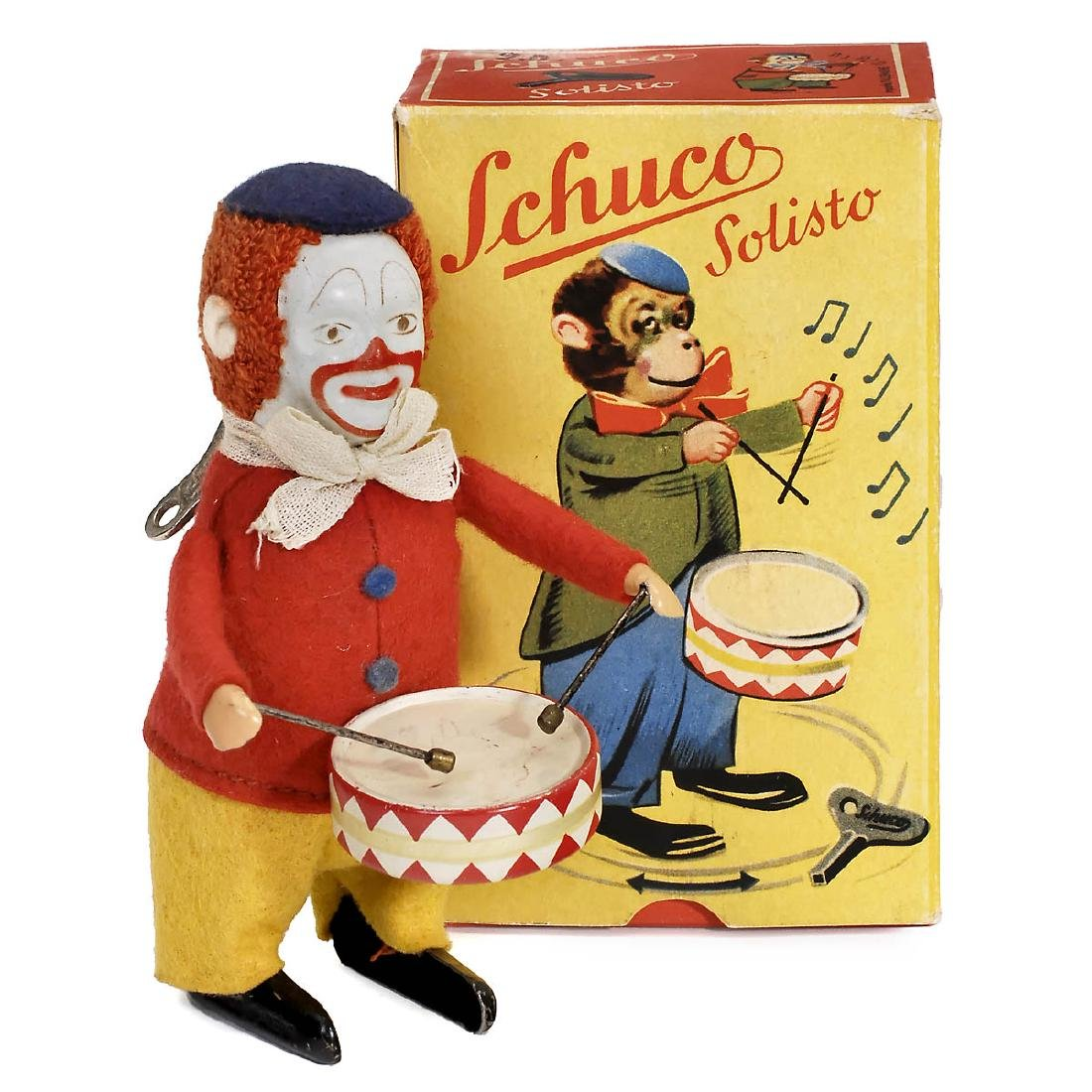 Schuco Solisto Clown with Drum No. 986/1 Dancing