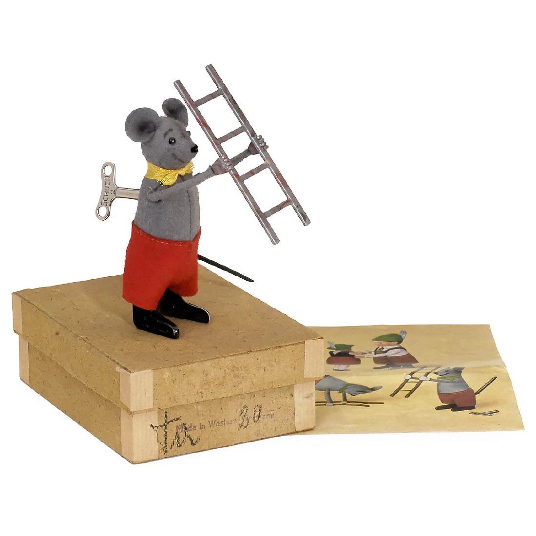Schuco Dancing Figure Mouse with Ladder No. 959, c.