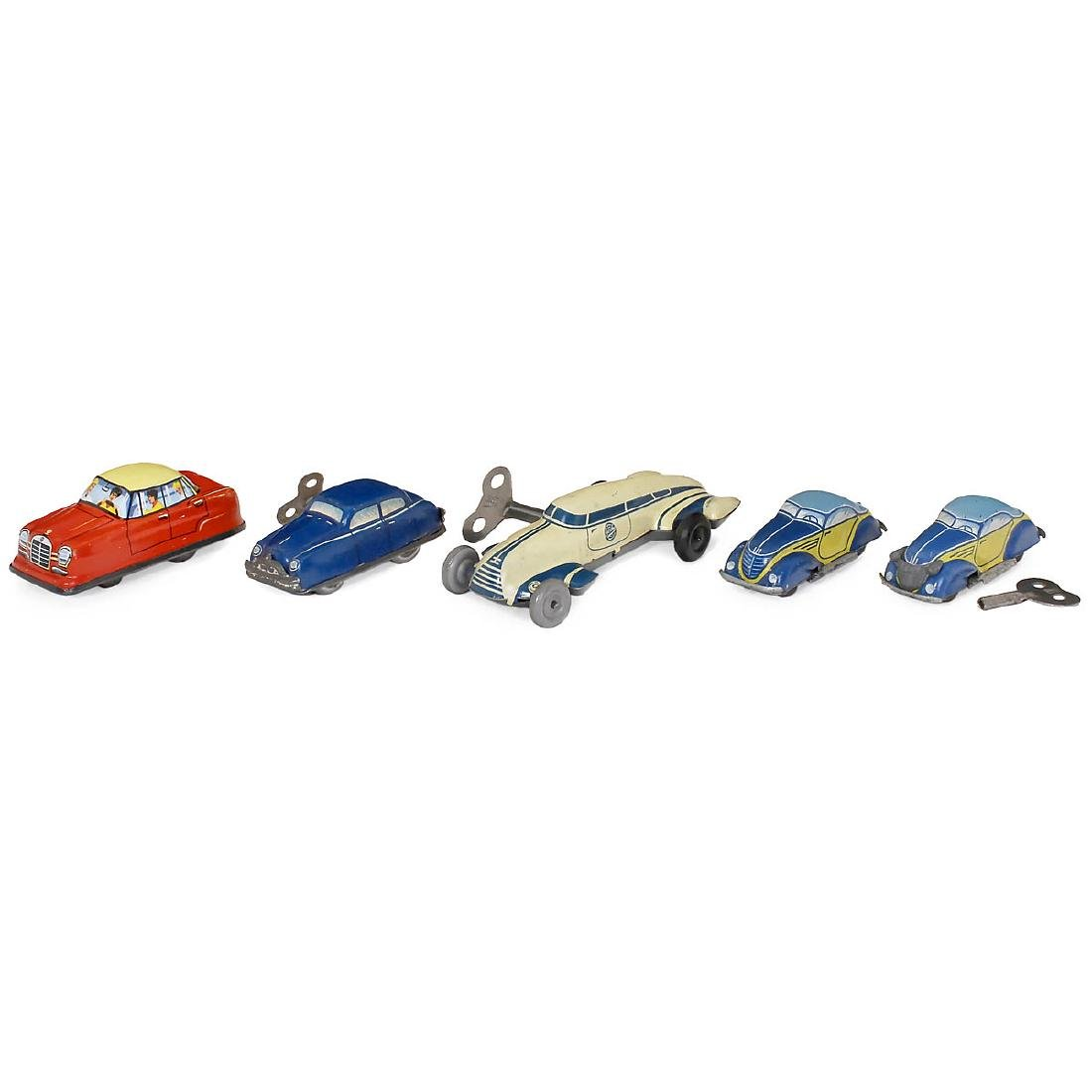 5 Small Toy Cars, c. 1950-60