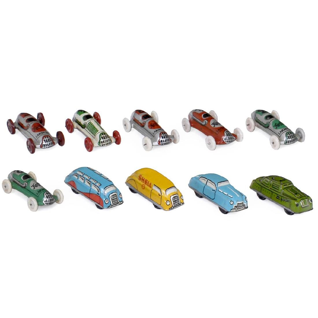 10 Tin Toy Promotional Cars, 1950s