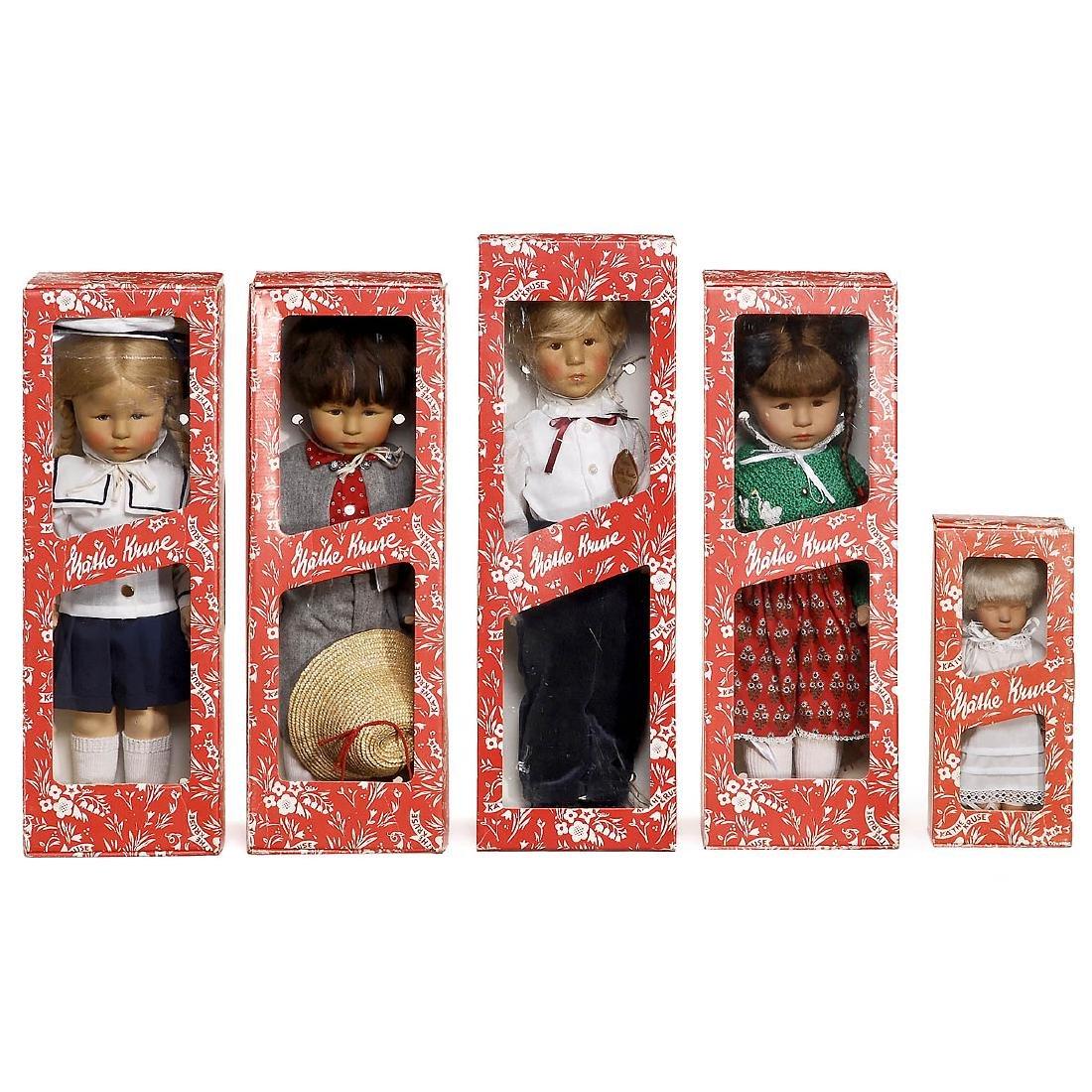 5 Boxed Käthe Kruse Dolls, c. 1980