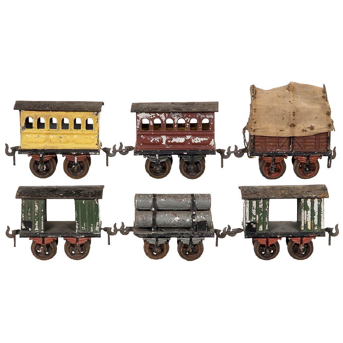 6 Early Railway Wagons by Bing Gauge 0, c. 1898