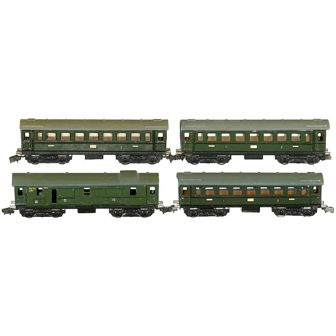 4 Märklin Fast Train Cars, c. 1939