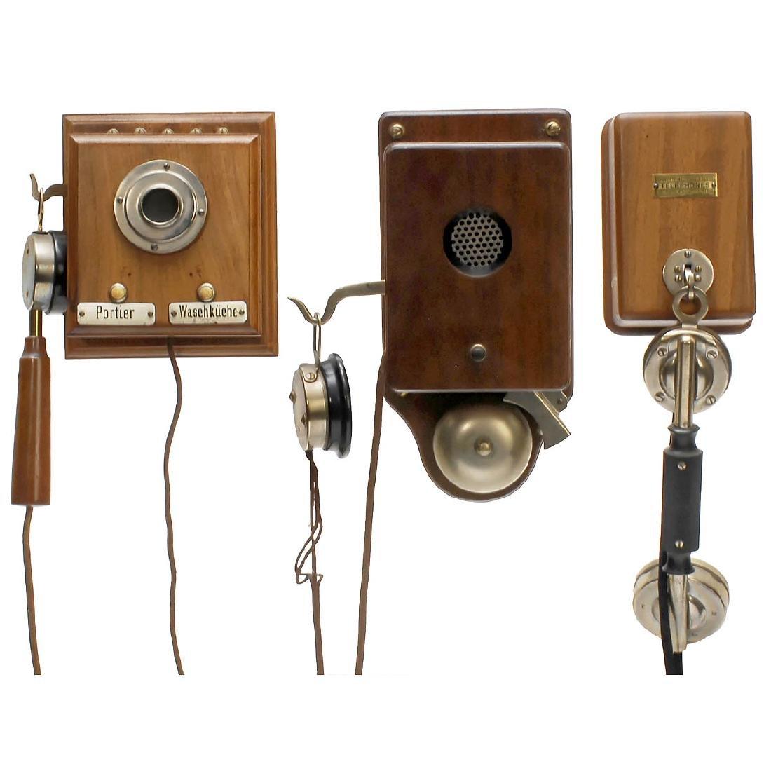 3 Intercom Telephones in Wood Cases, 1900/20