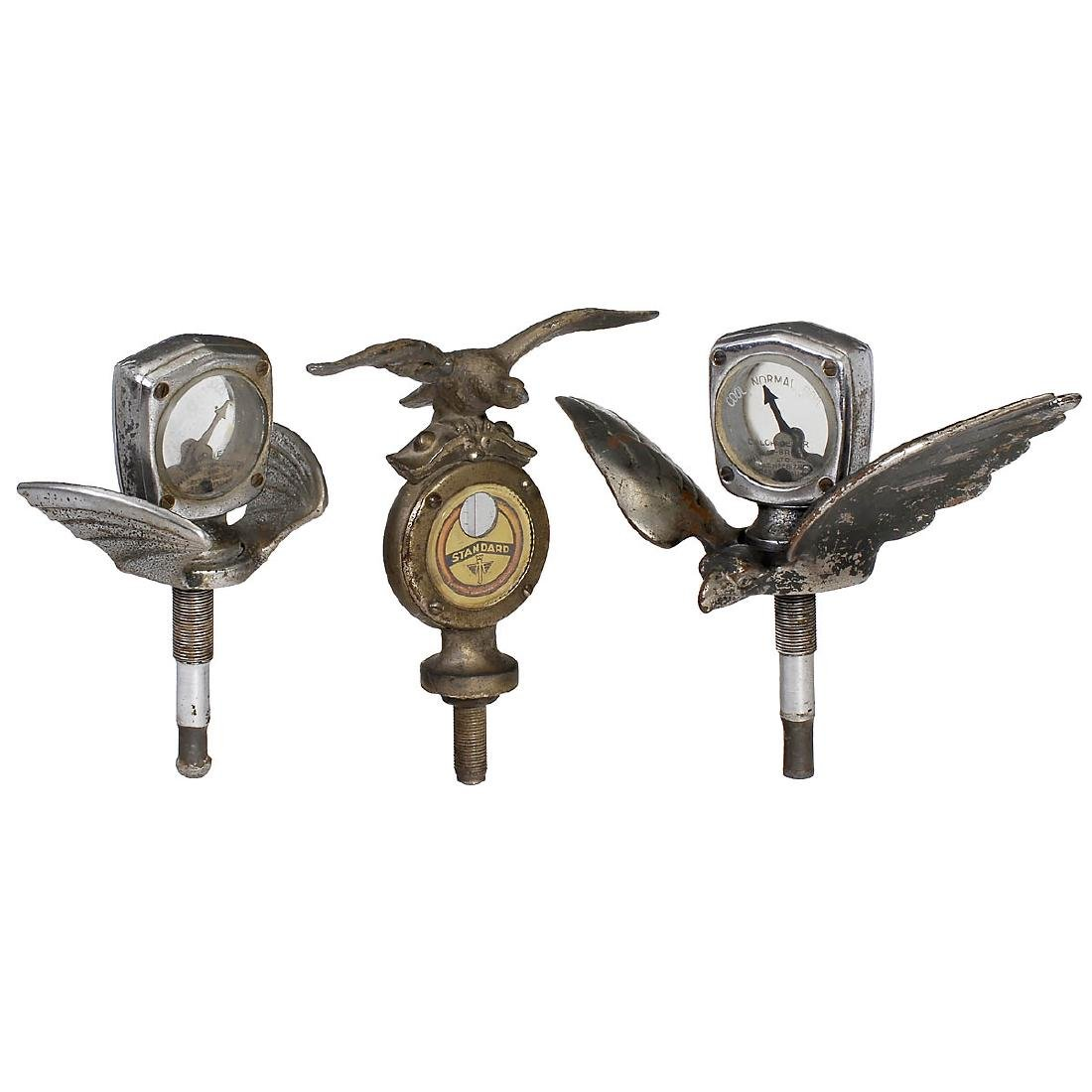 3 Hood Ornaments with Calometers, c. 1925