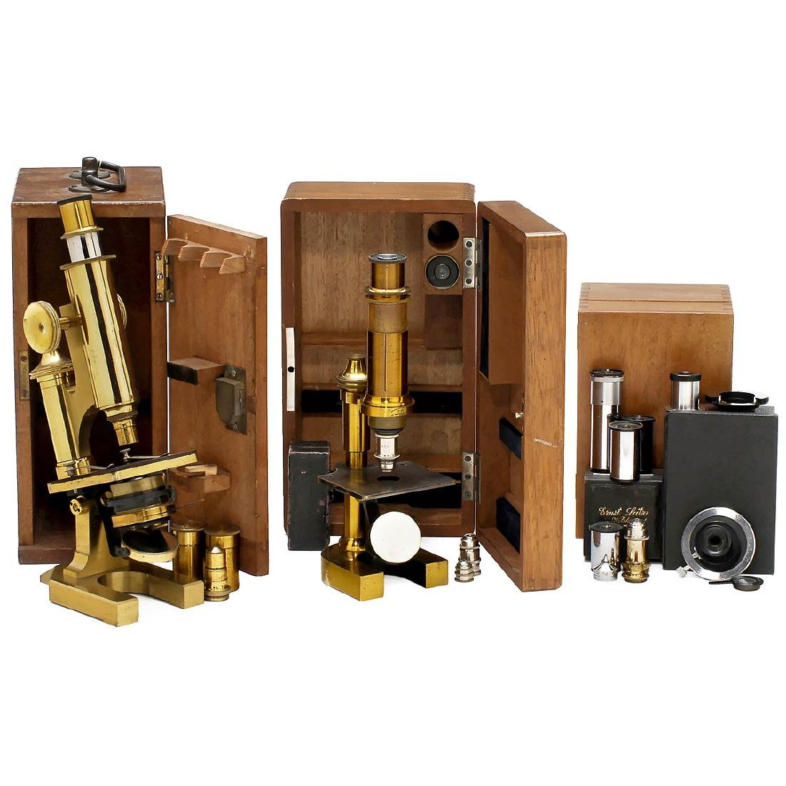 2 Brass Microscopes and Accessories