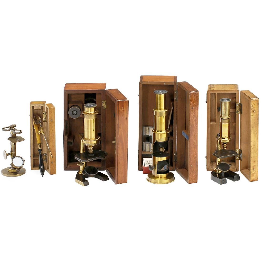 5 Small Brass Microscopes, 1800-1880