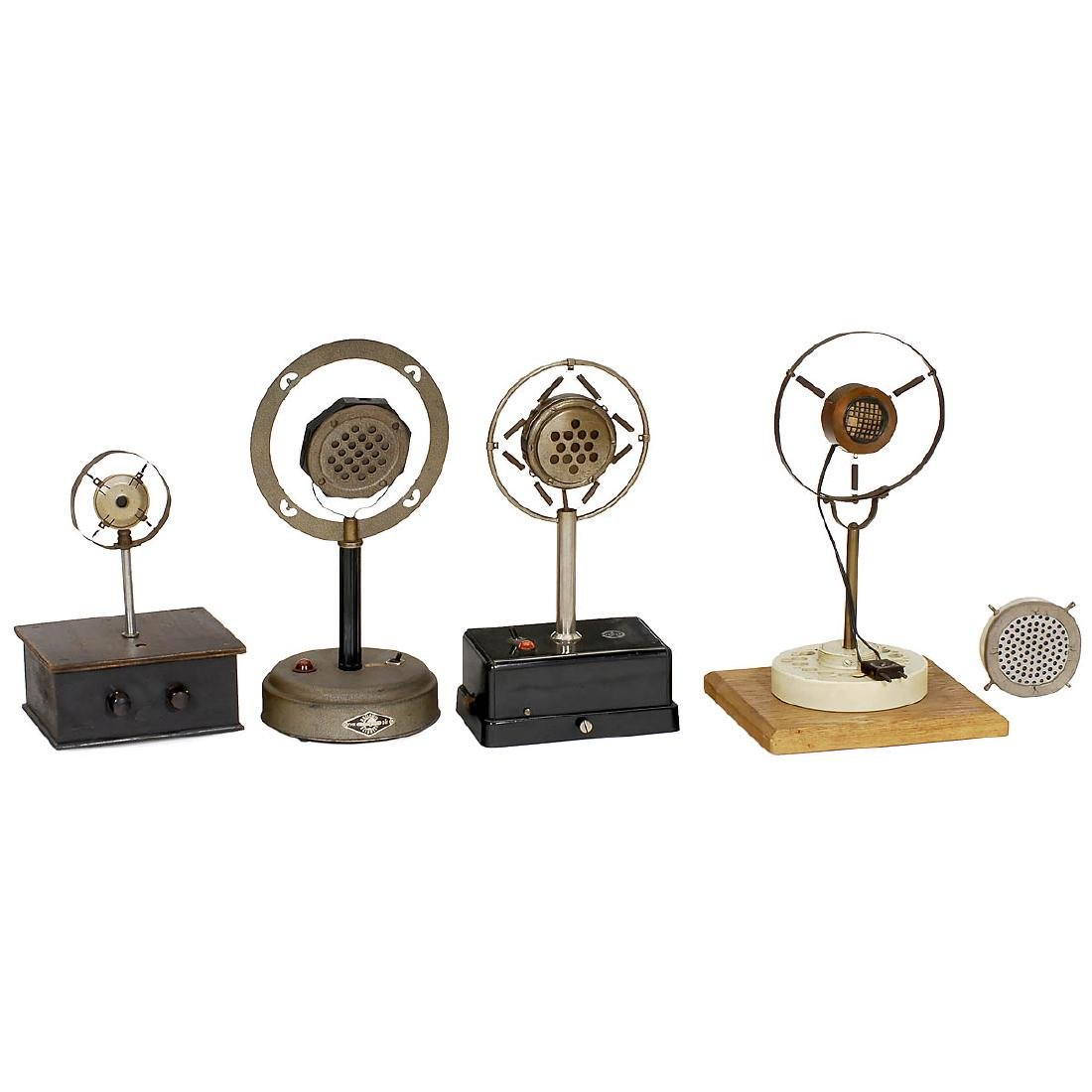 4 Carbon Table Microphones, c. 1930