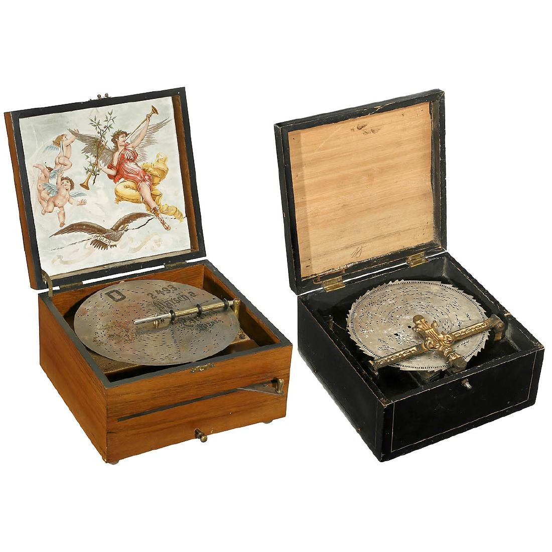 2 Disc Musical Boxes, c. 1900