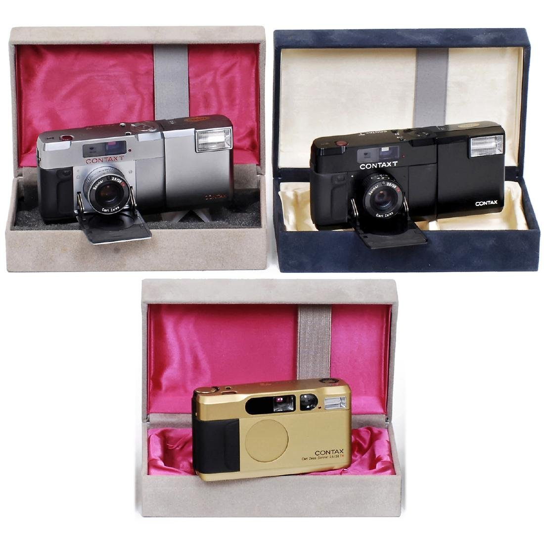 Contax T2 (Titanium Gold) and 2 Contax T Cameras
