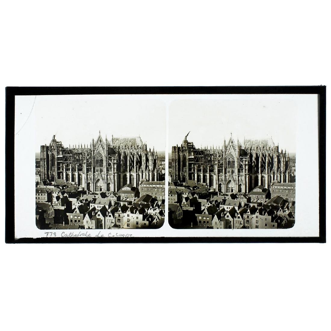 """Stereo Slide 9 x 18 """"Cathedrale de Cologne"""" by Ferrier"""